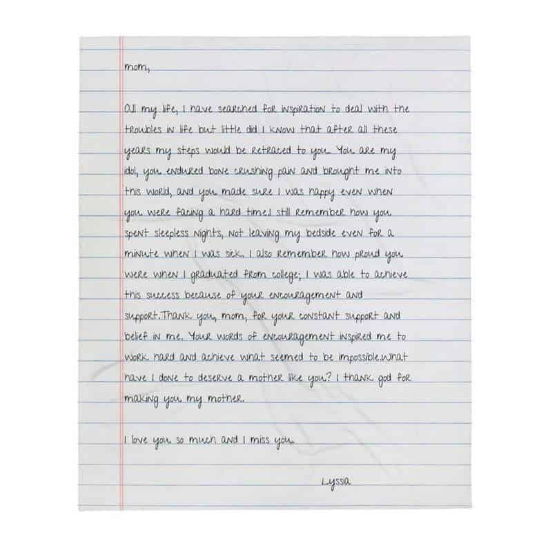 customized gifts for mom: handwriting letter blanket