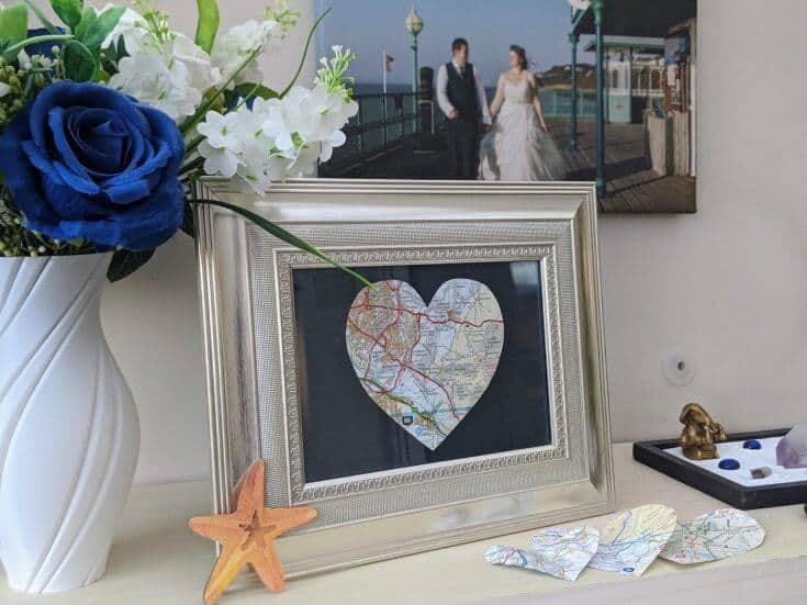 creative anniversary gift ideas: heart map art frame