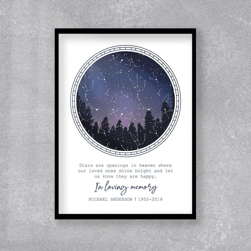 in loving memory star map framed print memorial gift