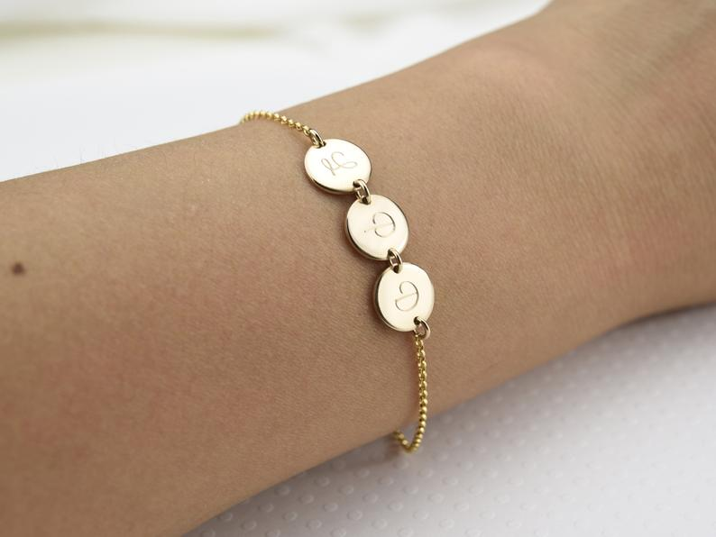 mothers day custom gifts: multi initial bracelet