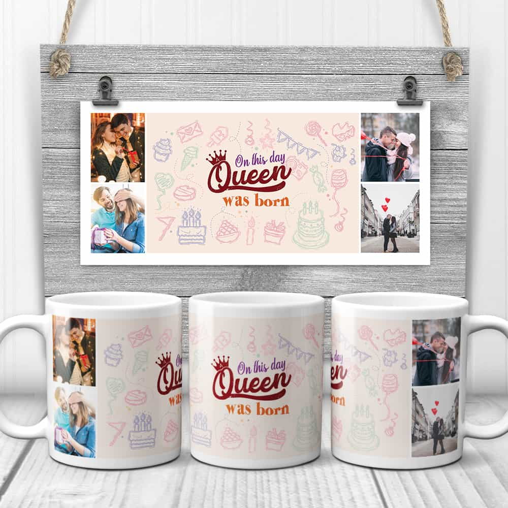 a photo mug with the quote on this day a queen was born - photo gift for mom's birthday