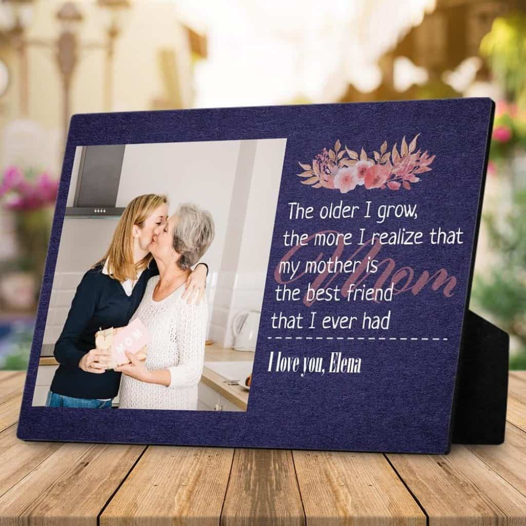 personalized gift for mom: custom photo desktop plaque with quote
