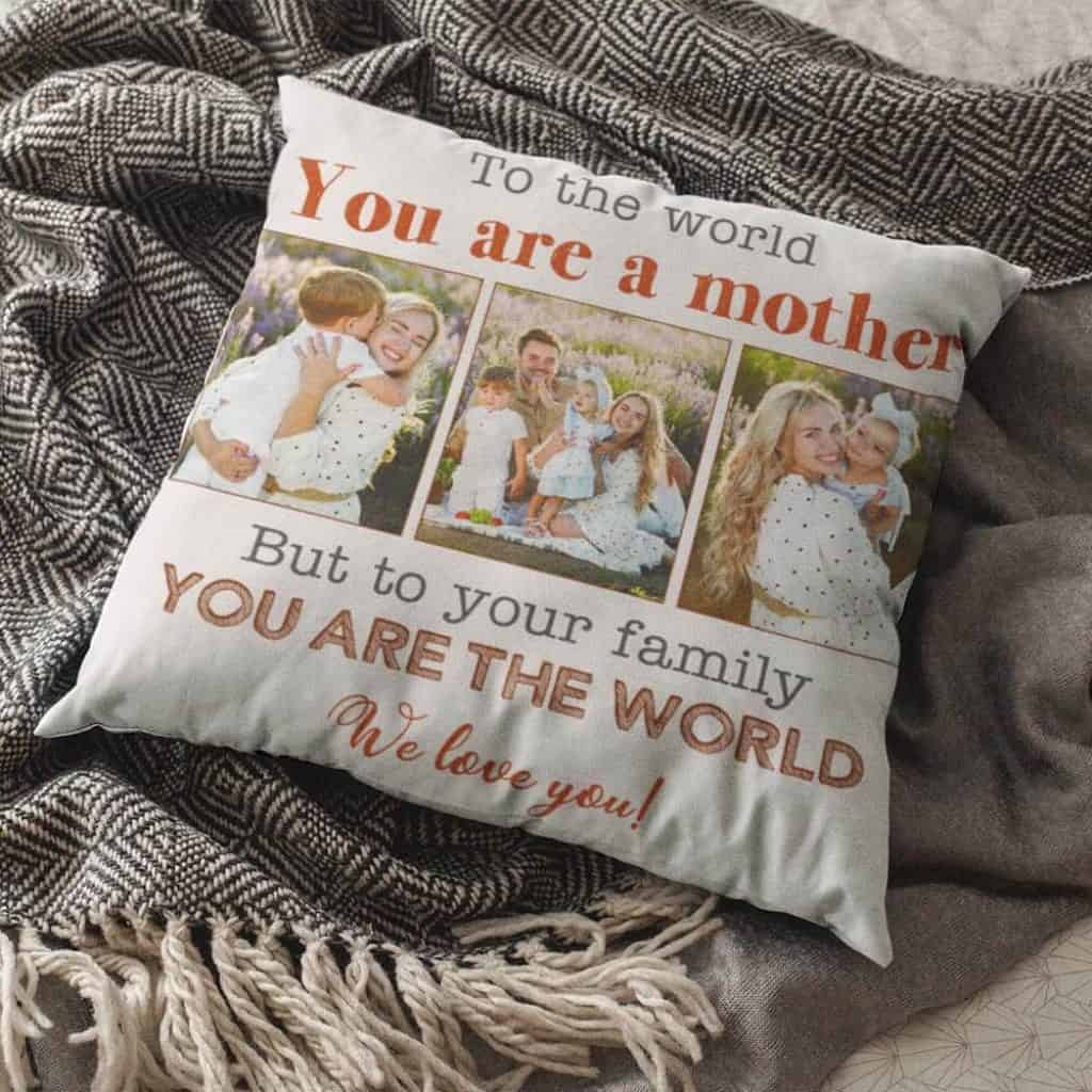 personalized gifts for mothers: custom photo throw pillow