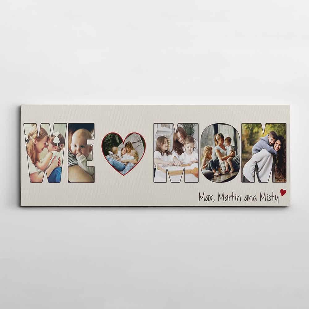 we love mom custom photo collage canvas print