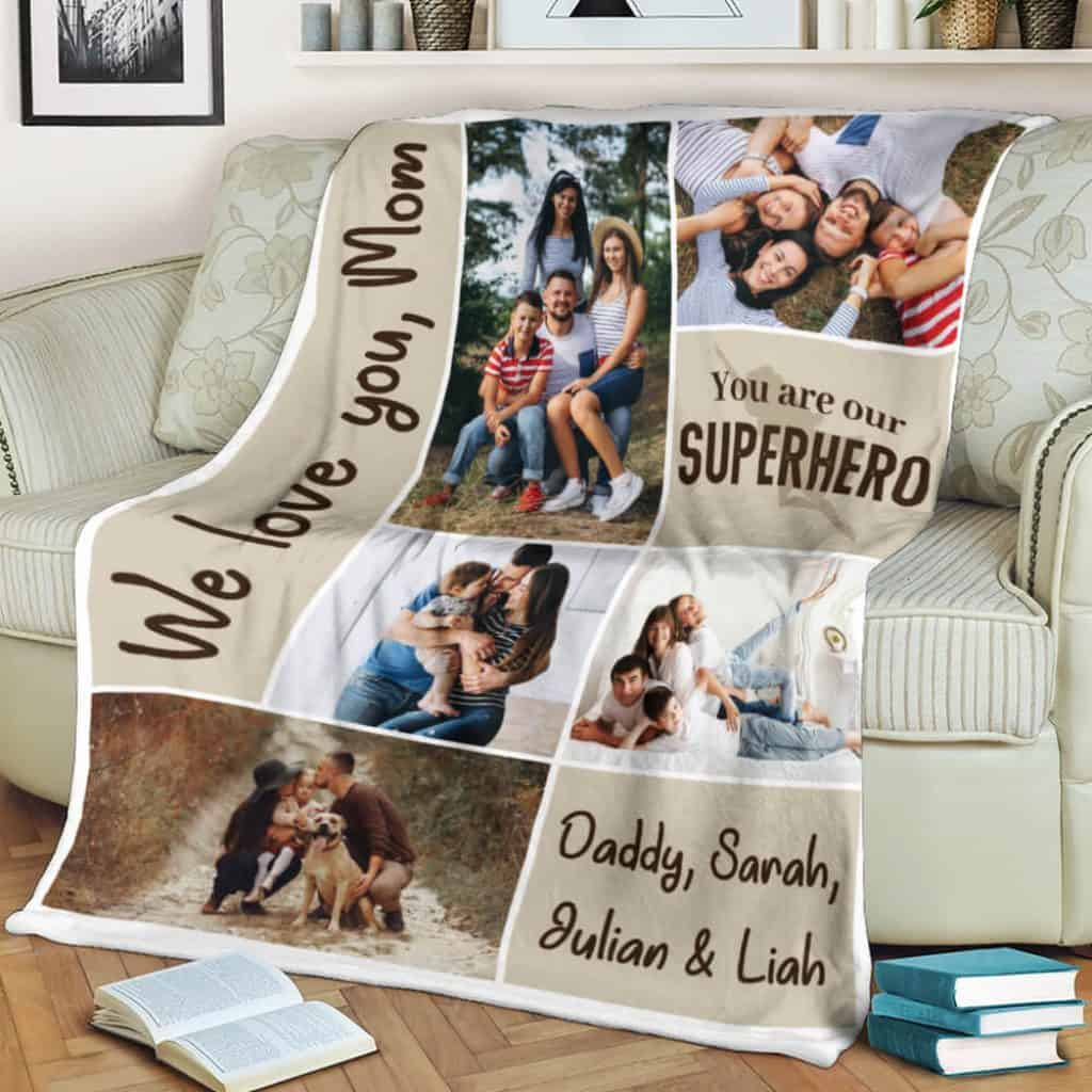 personalized gifts for mom: custom photo collage blanket