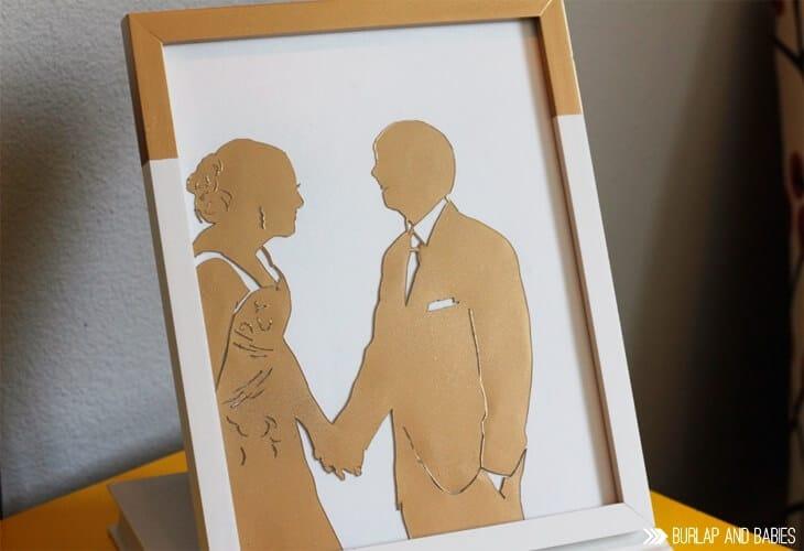 anniversary craft ideas: wedding photo silhouette frame