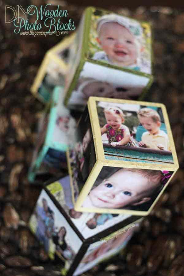 diy anniversary gifts for him: wooden photo blocks