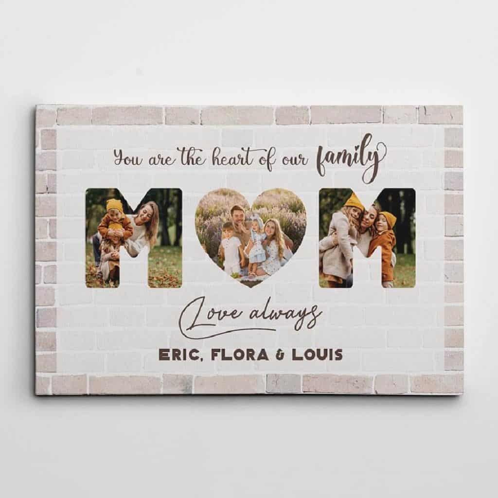 best gifts for mothers day: you are the heart of our family custom photo canvas print