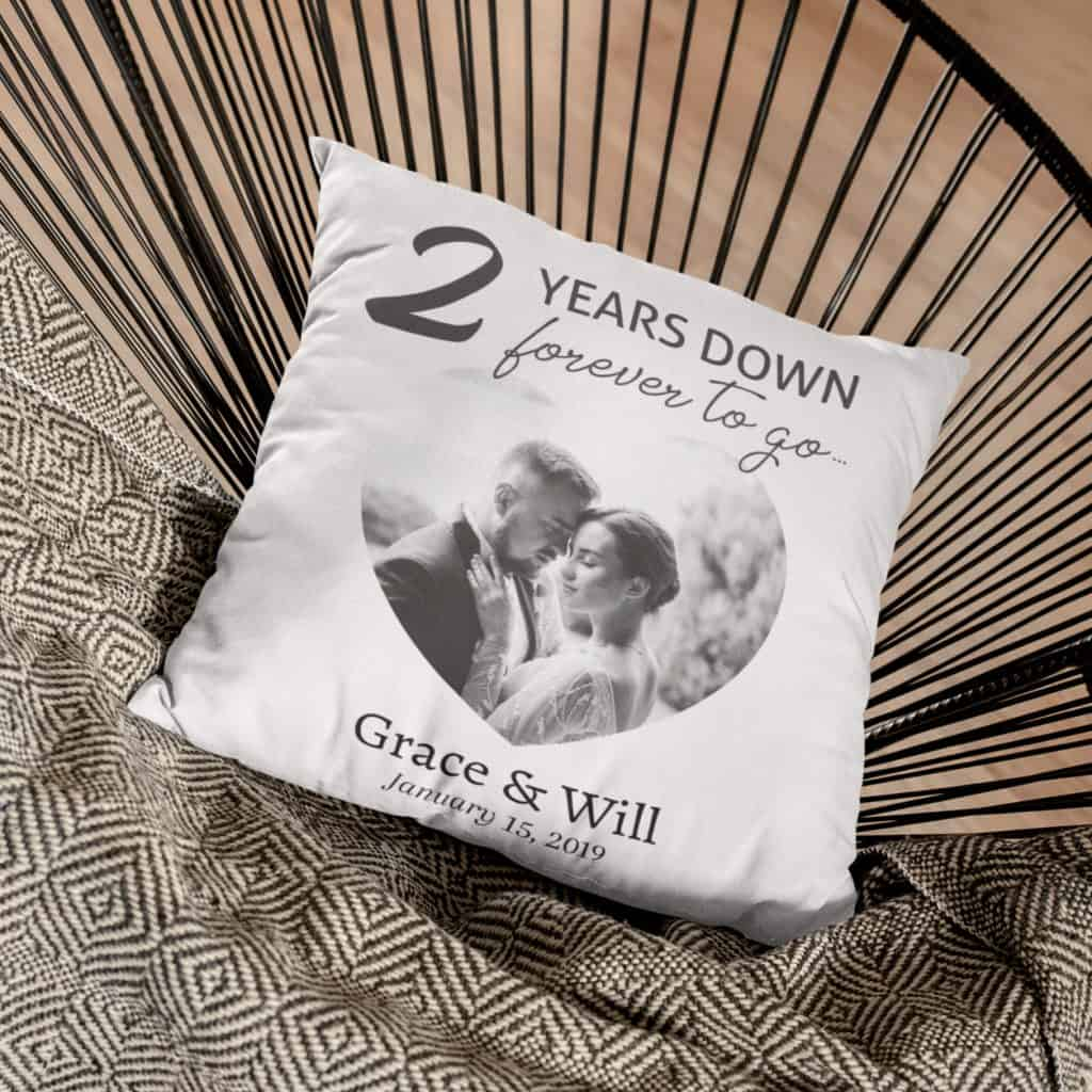 2 years down forever to go custom pillow with photo, name, and year