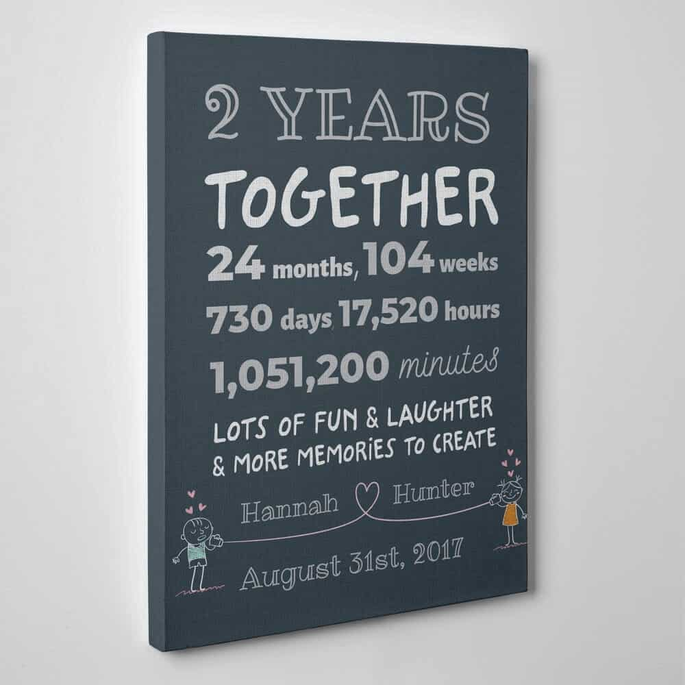 2 years together custom canvas gift for couples