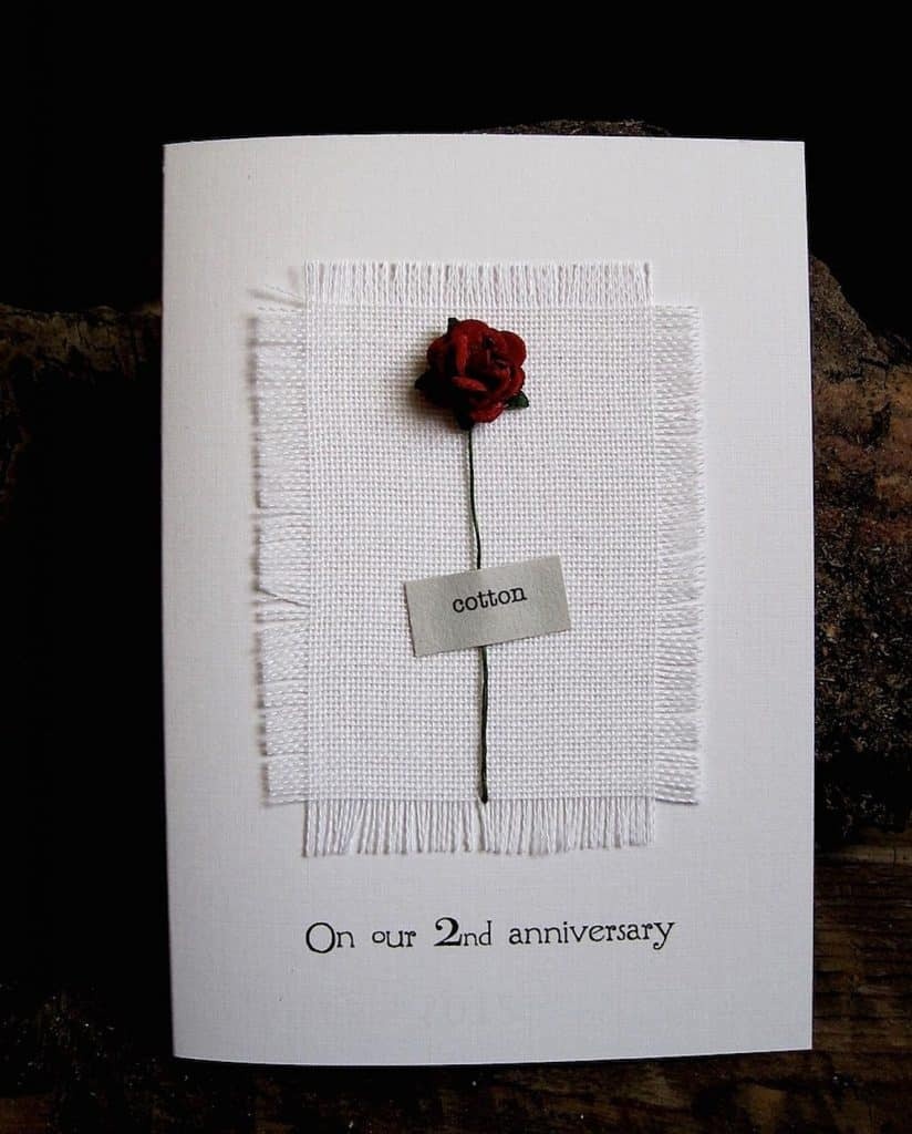 2nd Anniversary Cotton Card for Husband