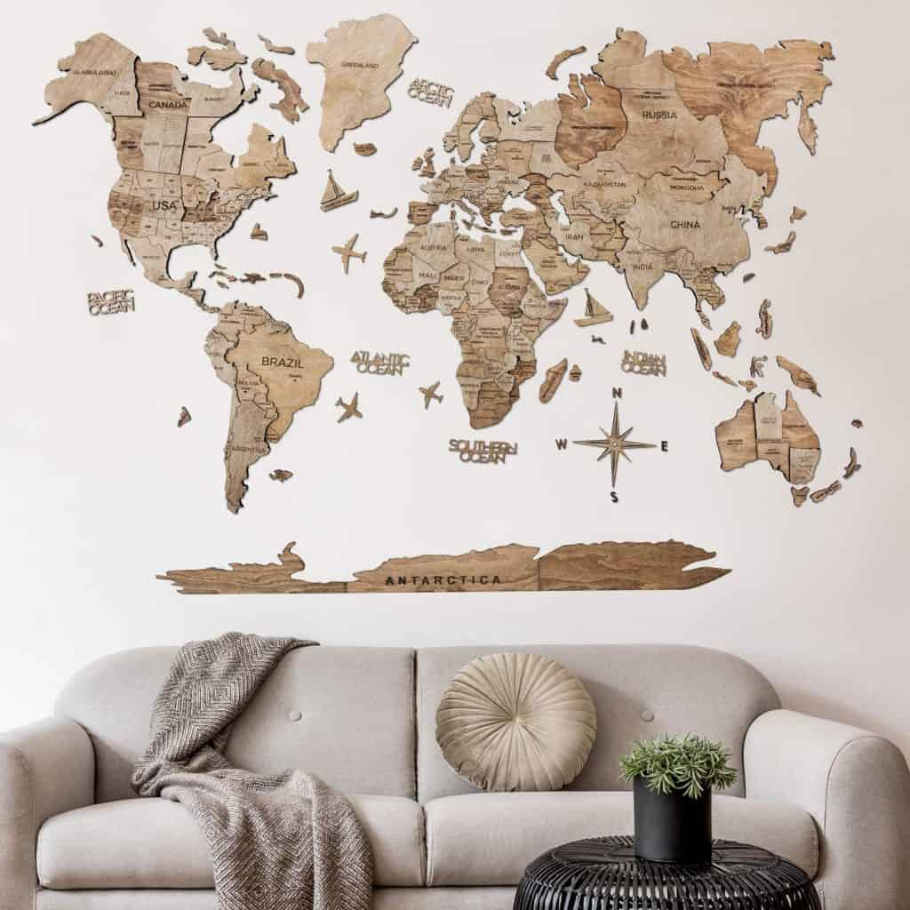 3D Push-pin Wood World Map