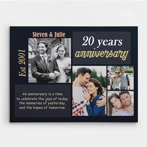 20th Anniversary Is a Time to Celebrate the Joys of Today Custom Canvas Print
