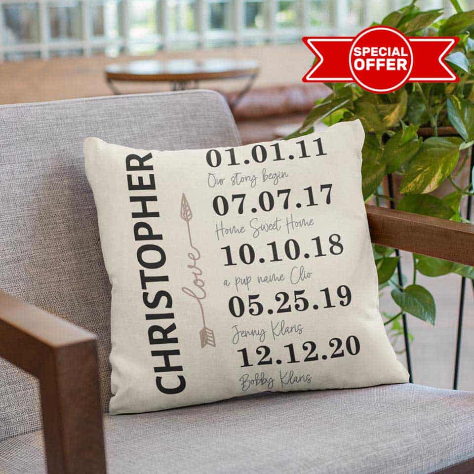 thoughtful anniversary gifts for her:   Anniversary Milestones Pillow