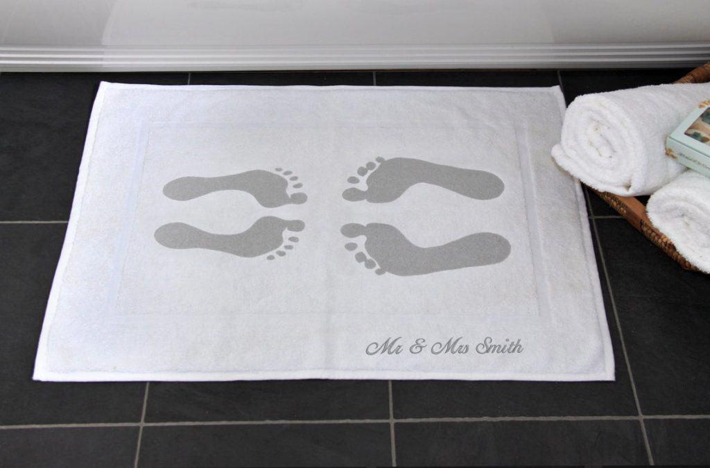 Cotton Footprint Bath Mat Cotton Anniversary Gift For Couple