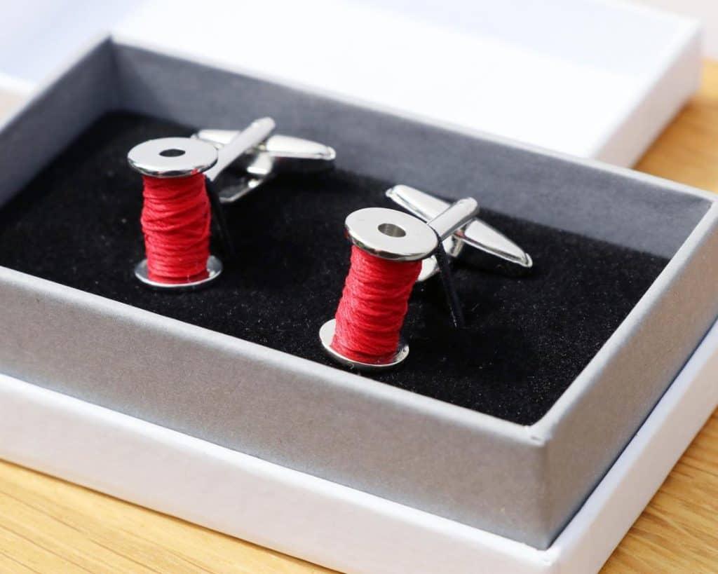Cotton Reel Cufflinks 2nd anniversary gift for husband