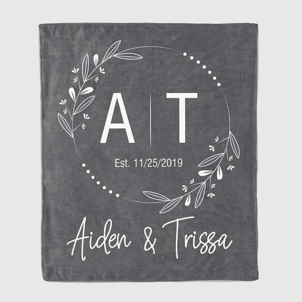 Couple Initials Anniversary Blanket