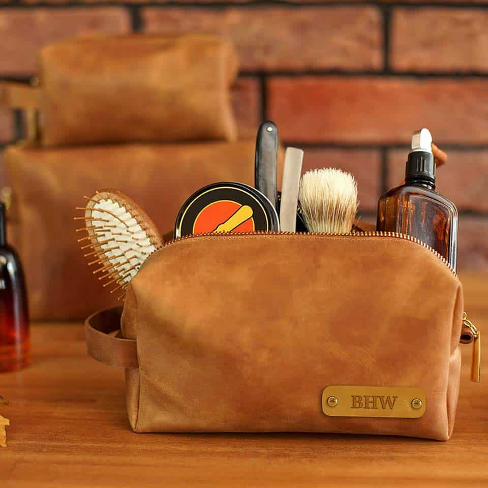 Custom Leather Toiletry Bag