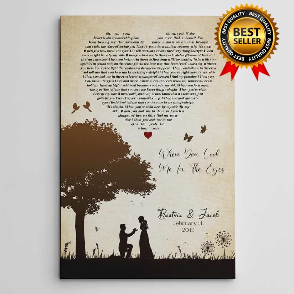 Customizable Couple Song Lyric Canvas Print - 1 year anniversary gifts for your girlfriend