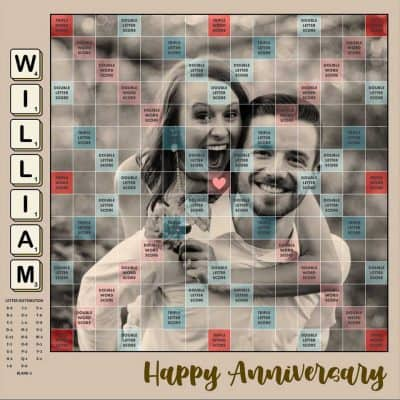 romantic anniversary gifts for her: Customized Scrabble Board