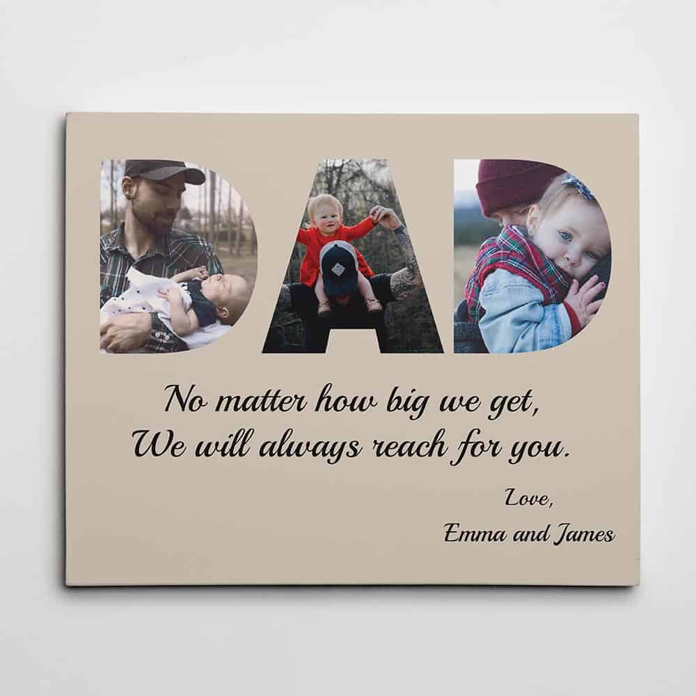 Dad Custom Photo Canvas gifts for fathers day