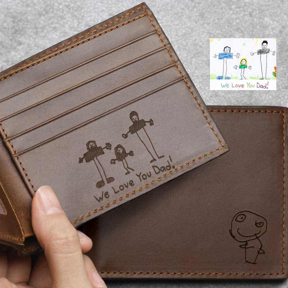 personalized fathers day gifts - Engraved Leather Wallet