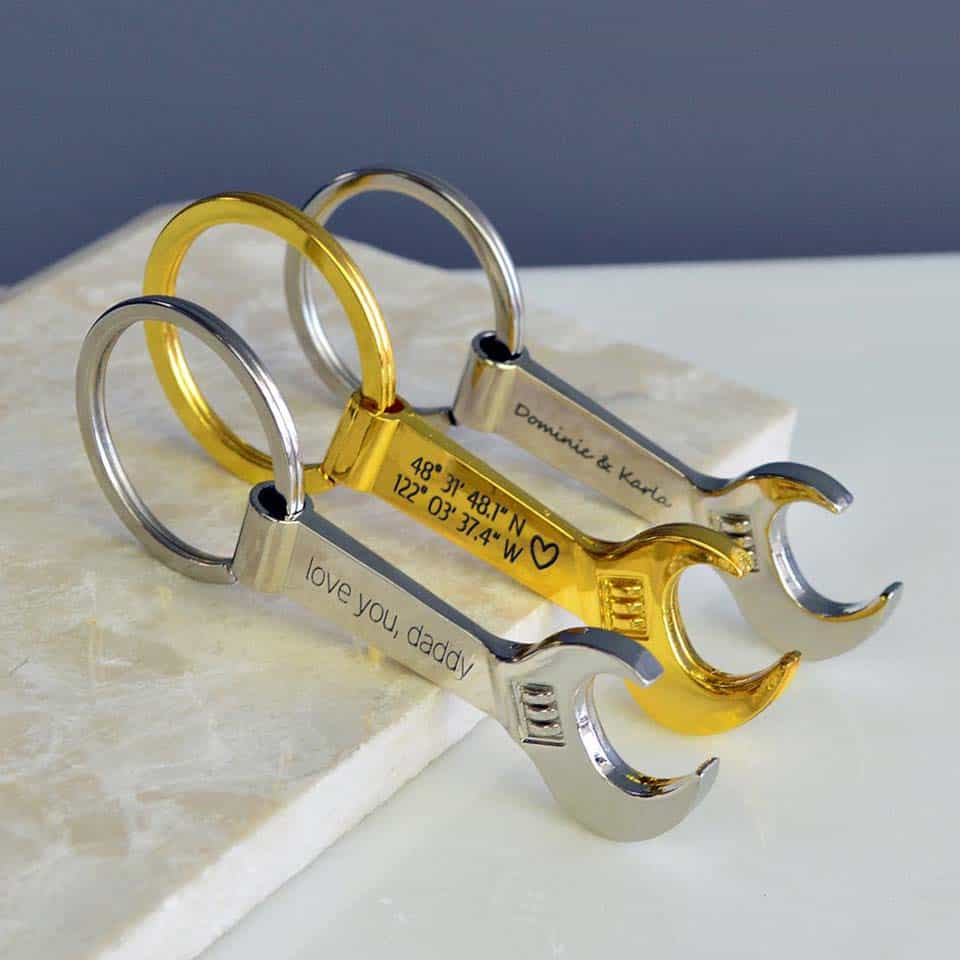 Engraved Wrench Keychain