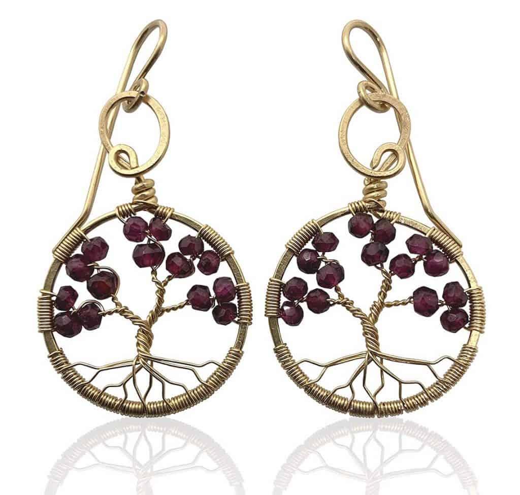 Garnet Gold Tree Of Life Earrings 2nd anniversary gift for her