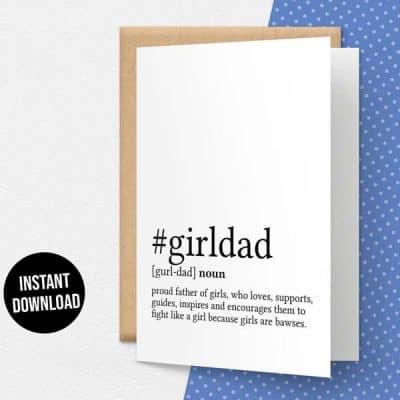Girl Dad Definition Card