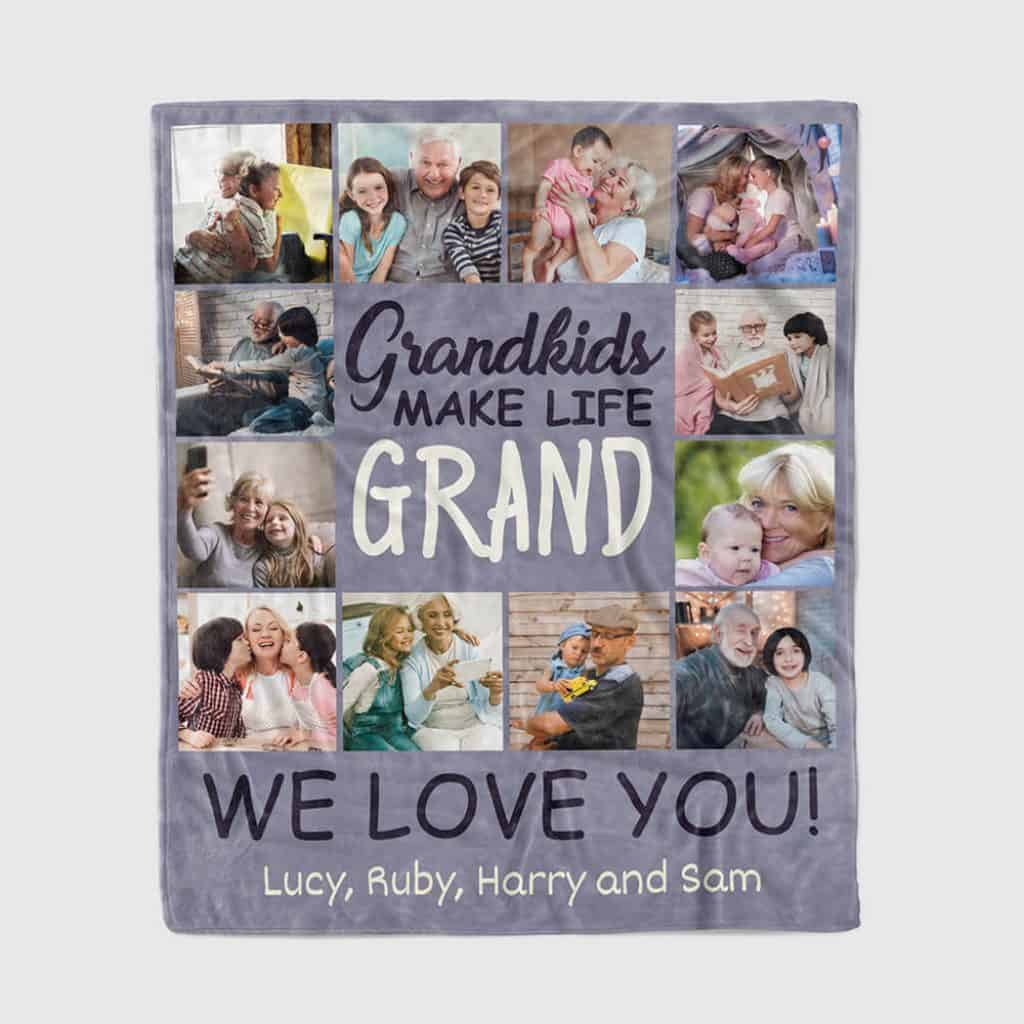 personalized grandma blanket: custom photo collage blanket