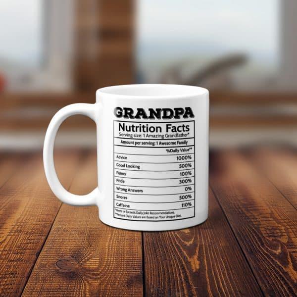 Grandpa Nutritional Facts Funny Coffee Mug