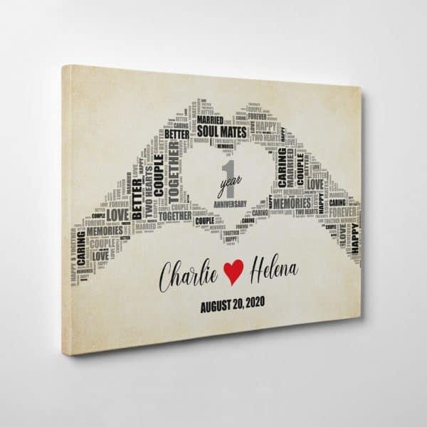 Happy 1st Year Anniversary – Heart Hands Word Art Canvas Print