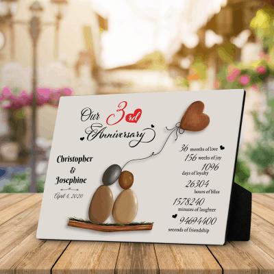 3rd Anniversary Leather Pebble Art Desktop Plaque