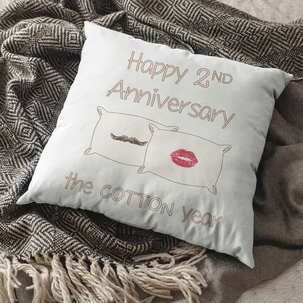 happy second anniversary the cotton year pillow