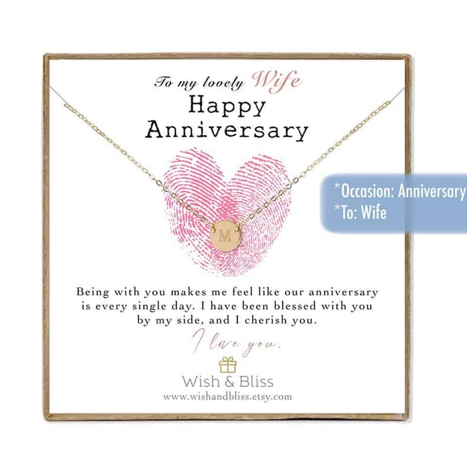 wedding anniversary ideas for her:  Initial Necklace
