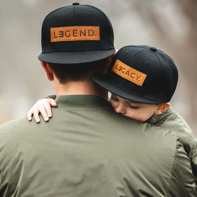 Legend and Legacy Genuine Leather Patch Hats Fathers Day Gift