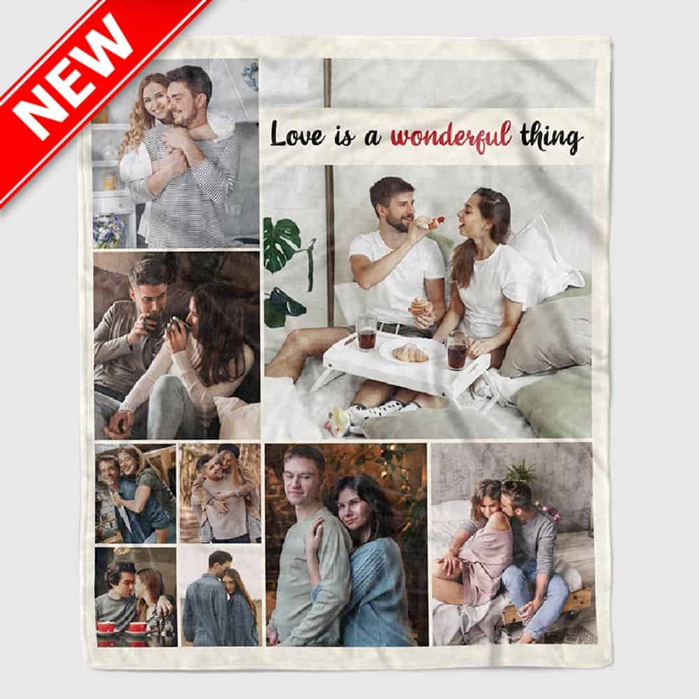 Love Is a Wonderful Thing Photo Blanket - 1 year anniversary gifts for girlfriend