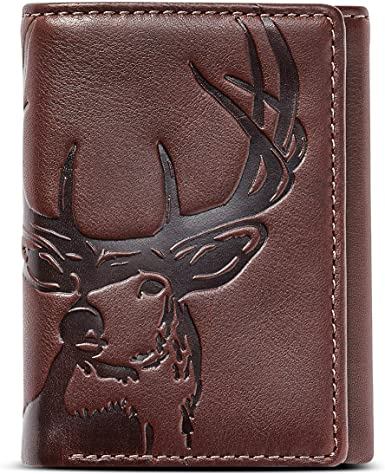 Men Leather Trifold Wallet Deer Wallet Hunters Gift from son to dad