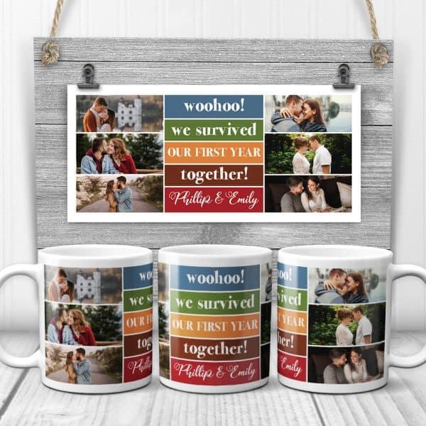 Our First Year Together Custom Photo Mug
