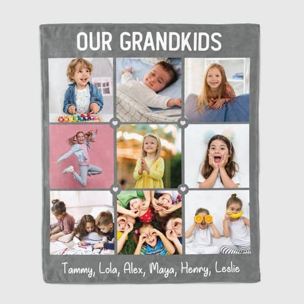 Grandkids Photo Collage and Names Blanket