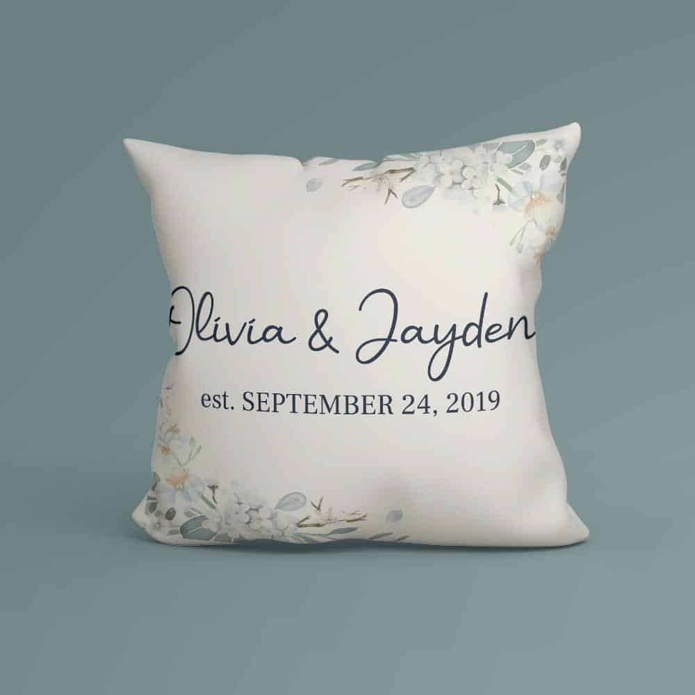 Personalized Pillow With Couple's Names and Wedding Day