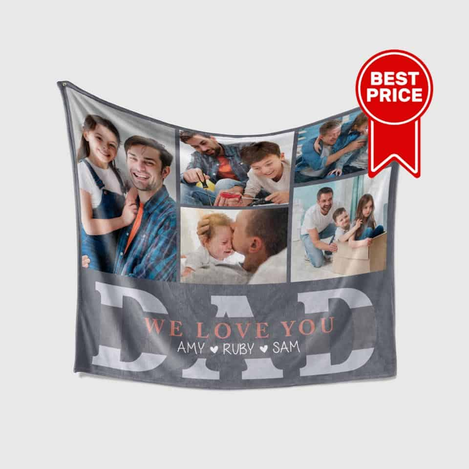 personalized fathers day gifts - Photo And Name Blanket