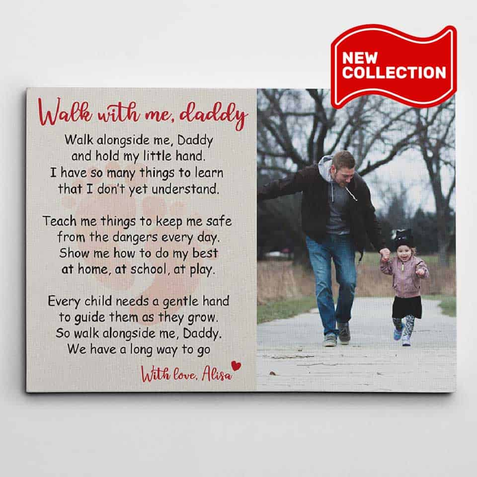 personalized fathers day gifts - Poem Photo Canvas Print