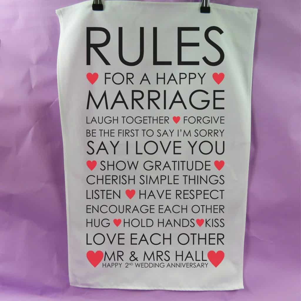 Rules For A Happy Marriage Tea Towel 2nd anniversary gift cotton present