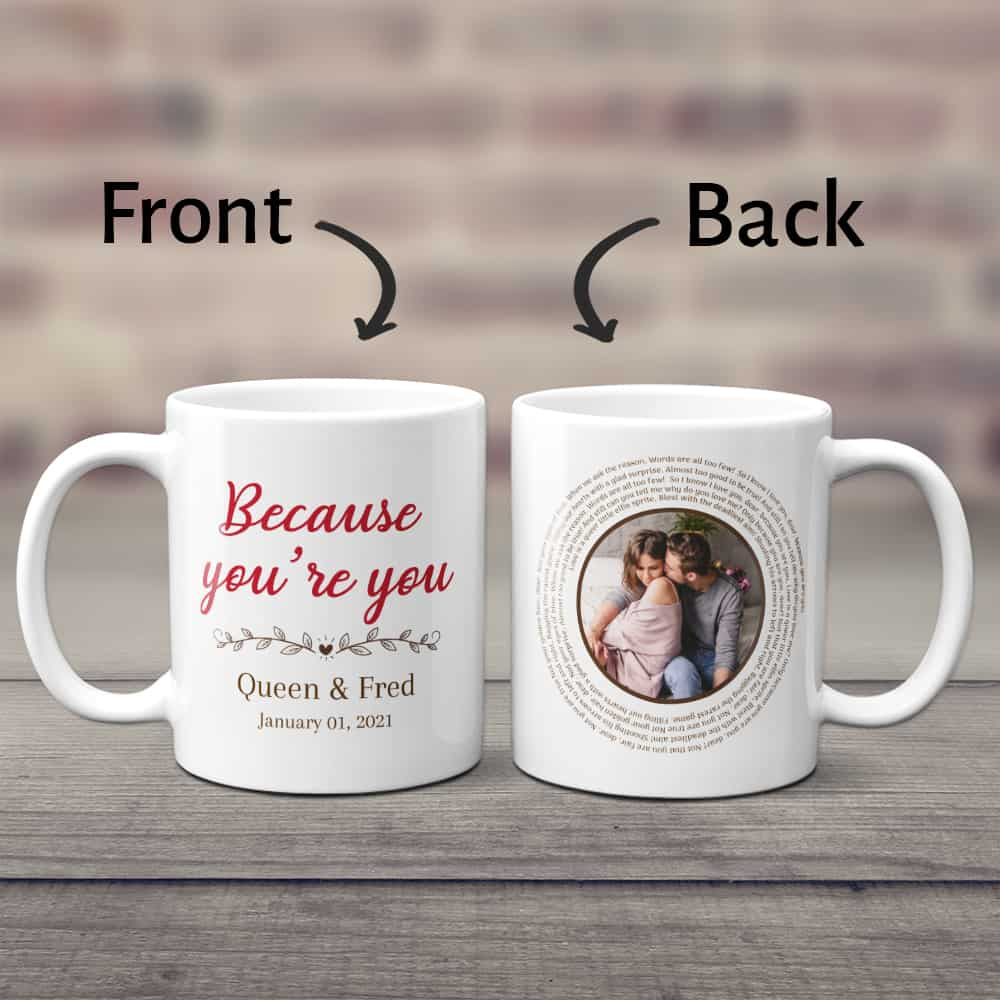 a ceramic mug with photo and spiral song lyrics - 2nd anniversary gift for wife