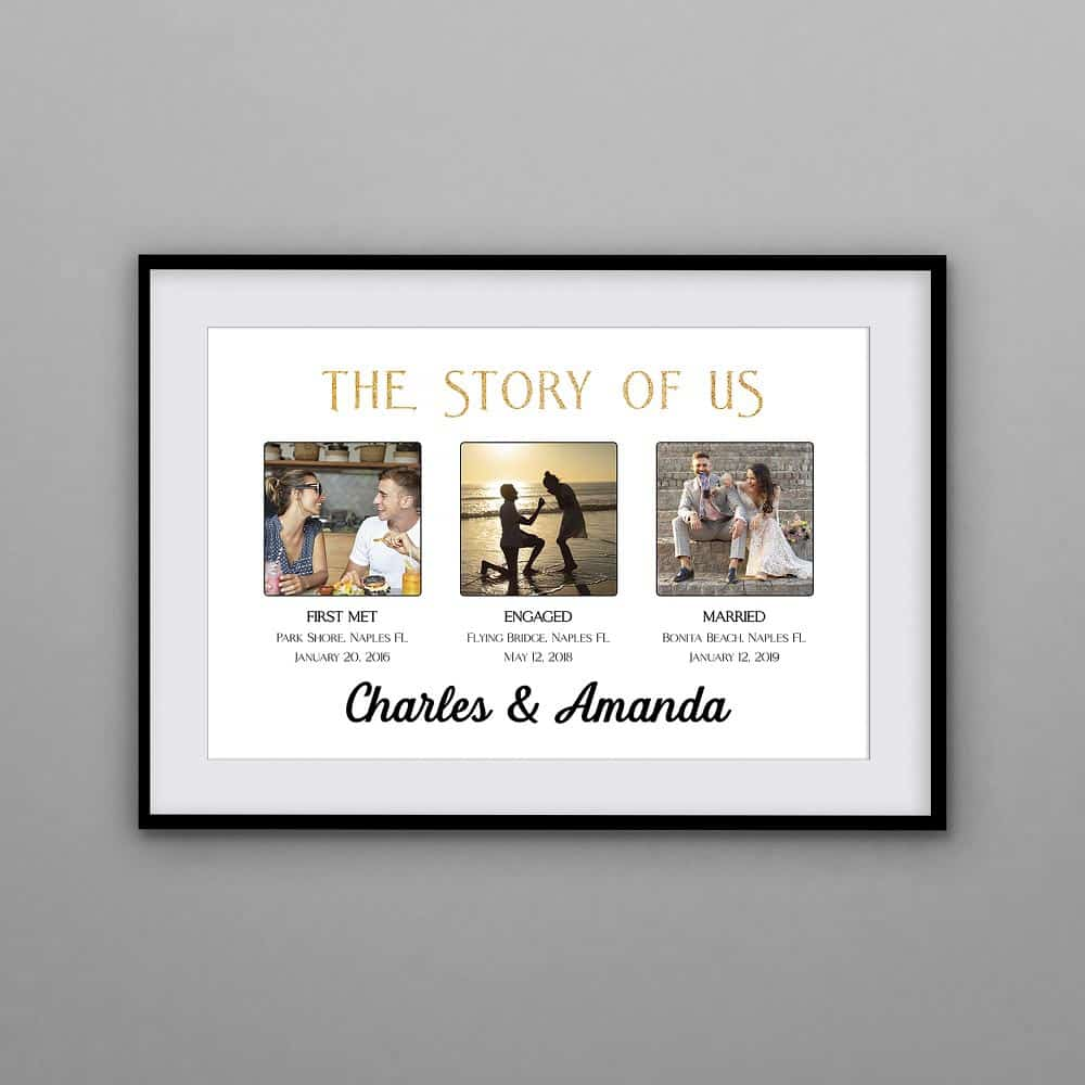 unique anniversary gifts for him: the story of us custom photo print