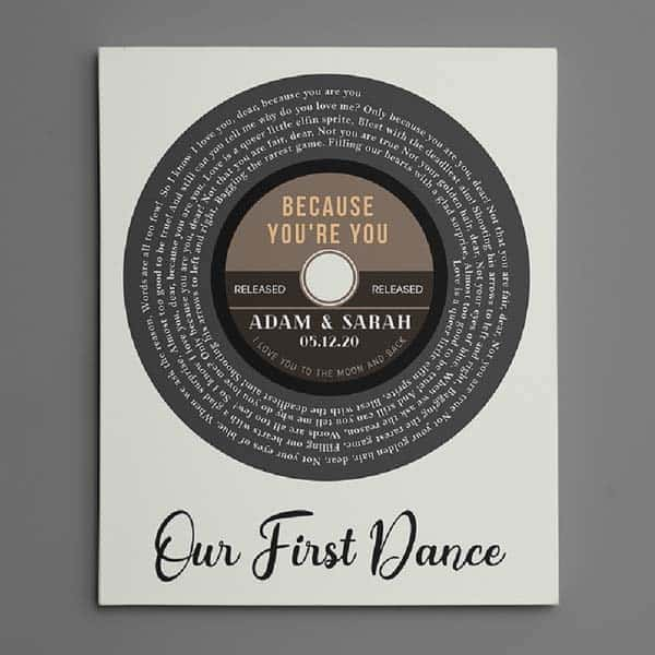 Vinyl Record Spiral Song Lyrics: romantic gifts for him