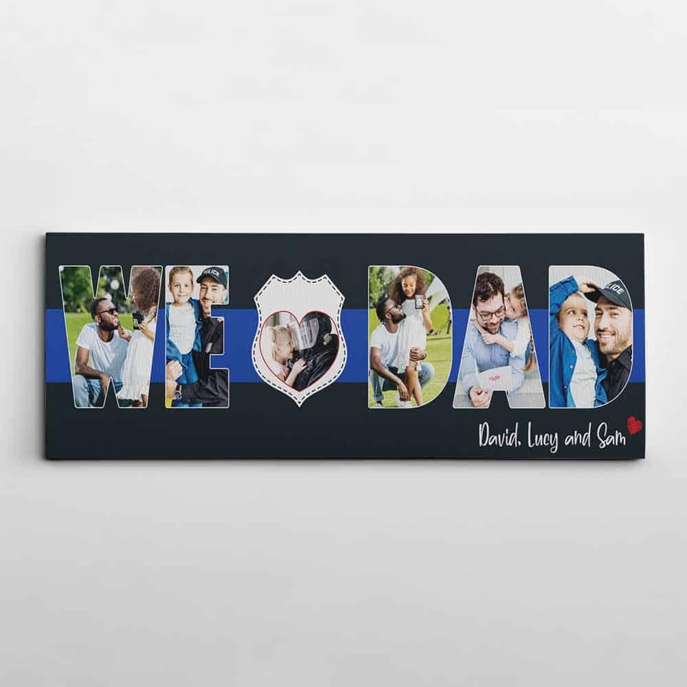 we love dad - thin blue line photo canvas print birthday gift