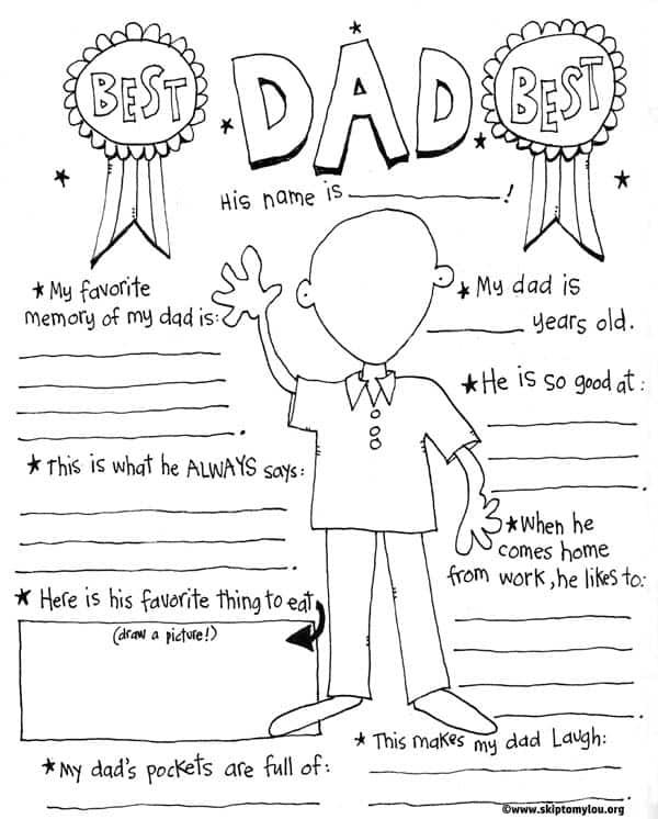 best dad printable coloring page