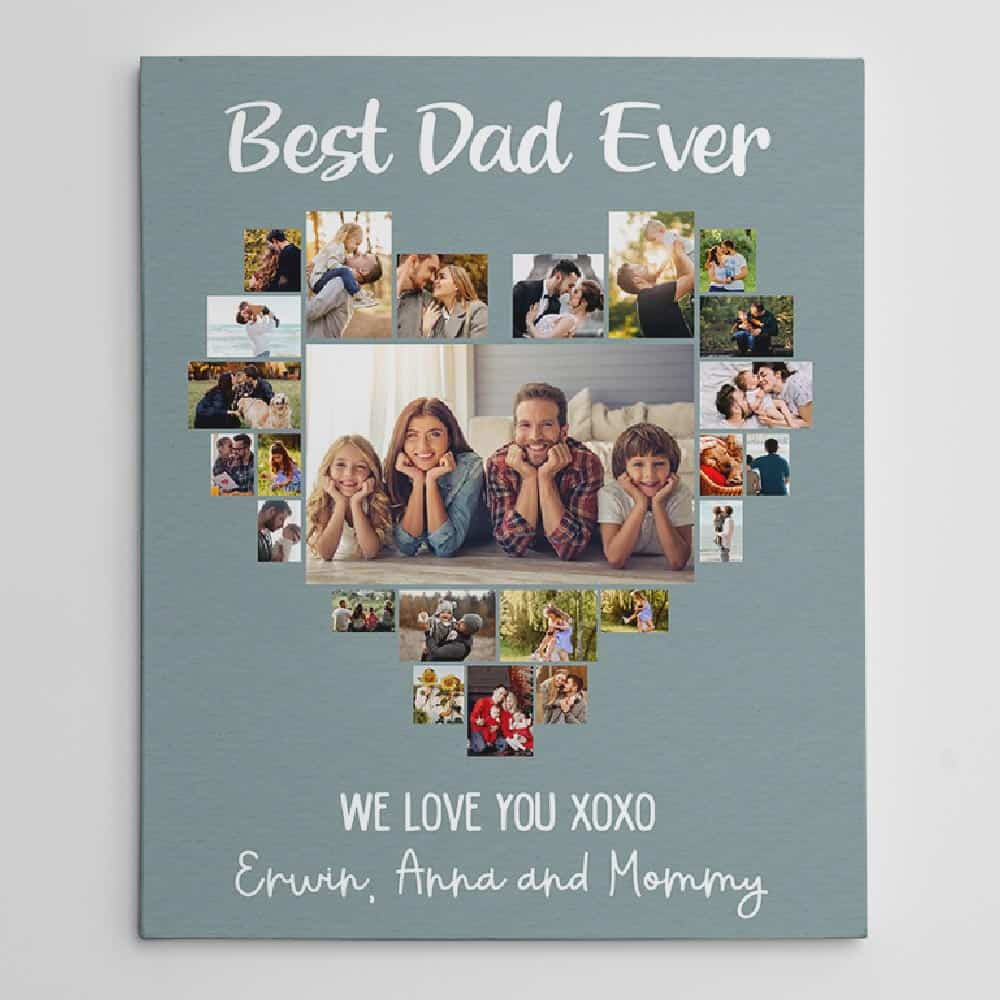 best dad ever heart photo collage custom canvas print for son send to fathers
